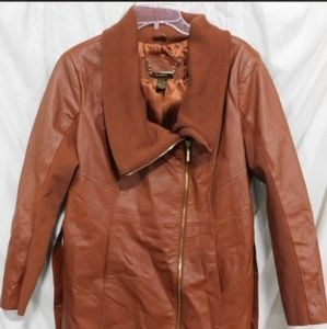 Iman Brown Leather Jacket Size Large